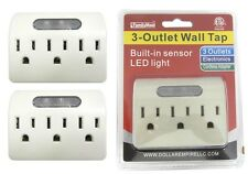 2 Of 3 Outlet Grounded AC Power Built In Sensor LED Night Light Wall Tap Adapter