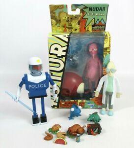 Futurama Nudar, Police Robot, Professor Farnsworth Collectable Action Figures