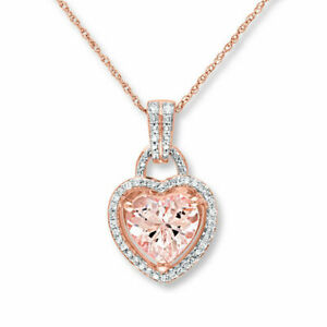 Valentine Day Special Morganite Heart Pendant Necklace 14k Rose Gold Finish