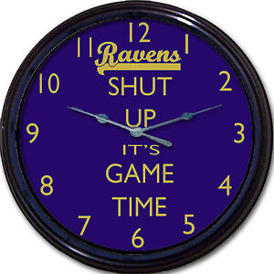 """Baltimore Ravens Football Shut Up It's Game Time Wall Clock NFL Man Cave 10"""""""