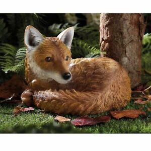 Realistic Red Fox Garden Statue Animal Ornament Outdoor Decorative Statue