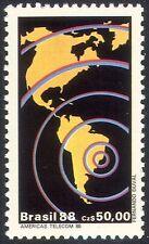 Brazil 1988 Telecomms/Communications/Radio/Telecommunications/Map 1v (n29477)