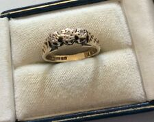 Lovely Ladies Early Vintage 9CT Gold Full Hallmarked 3 Stone Diamond Ring - L