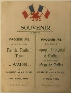 1908 Rugby Wales V France Souvenir Programme. 1st Ever Fixture! Cardiff A.P.