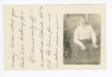 """""""If I Could Only Afford a Mustache"""" RPPC Quincy IL Antique Boy Photo 1908"""