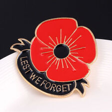 Red Poppy Flower Gold Lapel Badge Brooch Broach Lest We Forget Enamel Pin Gifts
