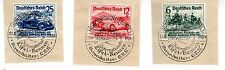 1939 Germany Scott B141-B143 Nurburgring Eifel Races on pieces w/special cancels