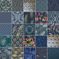 MIDNIGHT BLUE NAVY WALLPAPER GEOMETRIC METALLIC TROPICAL ANIMALS FLORAL TRELLIS