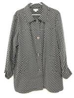 Charter Club Woman Over Coat Jacket Black White Women's Plus Size 2X Polka Dot