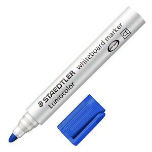2 X Staedtler Lumocolor Whiteboard Marker Pen Bullet Tip Blue Ink - 351-3 BKDA