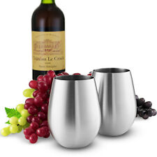 2pcs Stainless Steel Tumbler Drinking Mug Red Wine Glass Champagne Goblet Cup