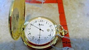 pws95955  satin  gold case  COLIBRI SWISS POCKET WATCH NEW IN BOX  date at 3