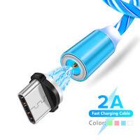 3.3ft Magnetisch Fließen Leuchtend Ladekabel Mikro USB Typ C iOS Blitz Kabel 1m