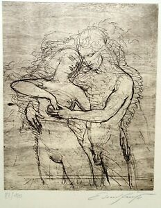 Tristan und Isolde Ernst FUCHS VERNIS MOU (Radierung) Liebespaar 1982 signiert