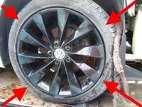 "2016 VW Scirocco R Line Genuine GLOSS BLACK Turbine alloy wheels 18"" PRISTINE"