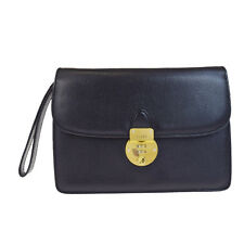 Auth BALLY Logos Clutch Hand Bag Genuine Leather Black Made In Italy 01V1752