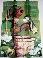"""Decorative Garden Flag 12 1/2' x 18"""" BIRDS ON WATER PUMP"""