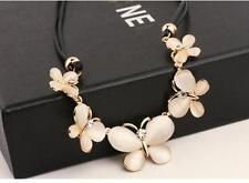 Women Fashion Crystal Butterfly Charm Choker Chunky Statement Bib Chain Necklace