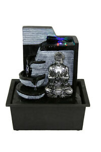 Buddha Indoor Tabletop Water Fountain Black Silver w/Color Changing LED Light
