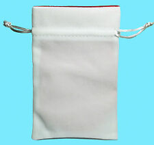 WHITE VELVET & LUXURY SATIN RED Lining DICE BAG NEW 4x6 Storage Pouch MDG Silk