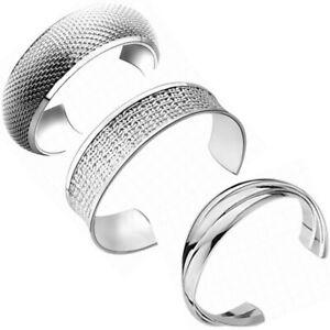 Womens silver plated bangle bracelet fashion jewellery cuff gift ladies uk V003