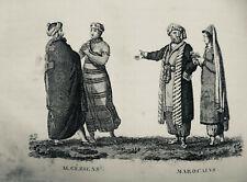 1819  GRAVURE ESTAMPES MOEURS COSTUME ALGERIENS  MAROCAINS