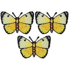 """Yellow Butterfly Applique Patch - Insect, Bug Badge 1-1/8"""" (3-Pack, Iron on)"""