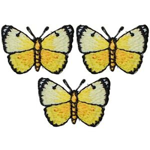 """Mini Yellow Butterfly Applique Patch - Insect Bug Badge 1-1/8"""" (3-Pack, Iron on)"""