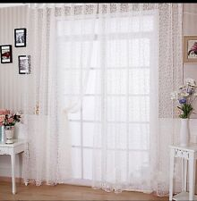 White Floral Valance Sheer Net Curtains 1 Pc