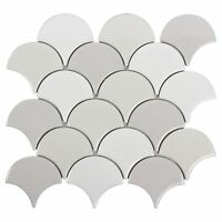 Modern Circular Grey White Porcelain Mosaic Tile Backsplash Kitchen Wall MTO0242