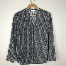 Soft Joie Black & White Print Rayon Button Up Shirt Top Blouse Long Sleeve Small