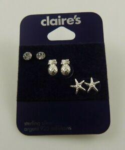 Sterling Silver crystal studs earring studs earrings 925 3 pair Pineapple star f