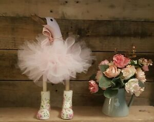 Wooden Bamboo Duck Ornament With Flowery Wellies Wellington Boots And Pink Tutu