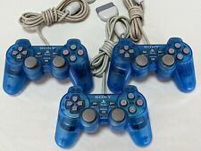 3 Official Sony PlayStation 1 PS1 PSone Blue Clear Controllers CLEAN & TESTED!