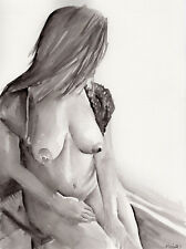 NUDE FEMALE MODEL - Original Watercolor Painting - Pin Up Wall Art
