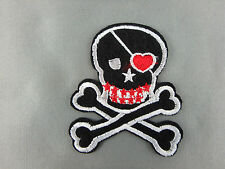 Girls punk skull emroidered  iron on /sew on patch 6cm x 6cm