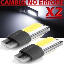 2 Lampade Lampadine LED T10 COB Canbus NO ERRORE BIANCO TARGA Posizione W5W 12V