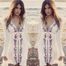 Fashion Women Bathing Suit  Long Sleeve  Bikini Swimwear Cover Up Beach Dress