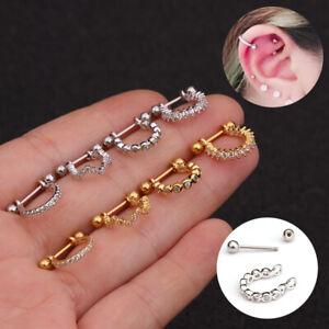 Stainless Steel Women Ear Cartilage Stud Earrings Zircon Helix Piercing Jewelry