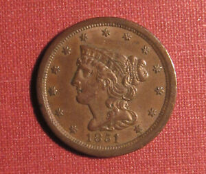 1851 BRAIDED HAIR HALF CENT - XF+ TO AU DETAILS, SOME OBVERSE MARKS, PLEASE VIEW
