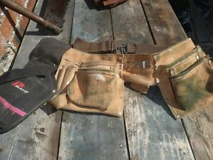 Leather suede fabric webbing tool belt 10 pouches hammer loop drill holster