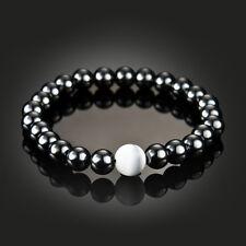 Fashion Women 8mm Natural Hematite Stone Round Beads Stretch Bracelet Black