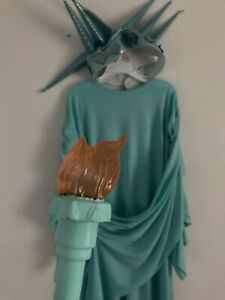 Statue of Liberty Costume Kids + Torch and Crown Sz  M 6-8