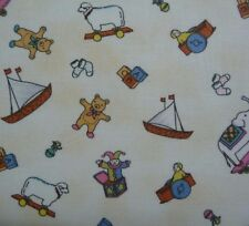 Toys Sheep Bears Boats Blocks on Beige Background Baby Quilting Craft Fabric FQ
