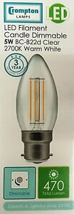 5 X 5W BC CANDLE LED FILAMENT CROMPTON WARM WHITE DIMMABLE 470 LUMENS 7130 BULB
