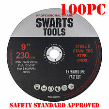 "100 x 9"" 230MM CUTTING DISC WHEEL THIN ANGLE GRINDER CUT OFF METAL STEEL FLAP"