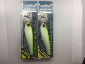 """2 Shimano Waxwing  3.5"""" 1/2 Oz Chartreuse"""