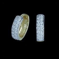 Creolen 333/8k echt Gold Klappcreolen Zirkonia Ohrringe Damen Herren 3,5x12mm