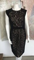 Adrianna Papell Nude Black Lace Floral Paisley Sheath Cap Sleeve Dress Size 12