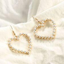 Women Jewelry Piercing Earrings Drop Dangle White Pearl Love Heart Earring